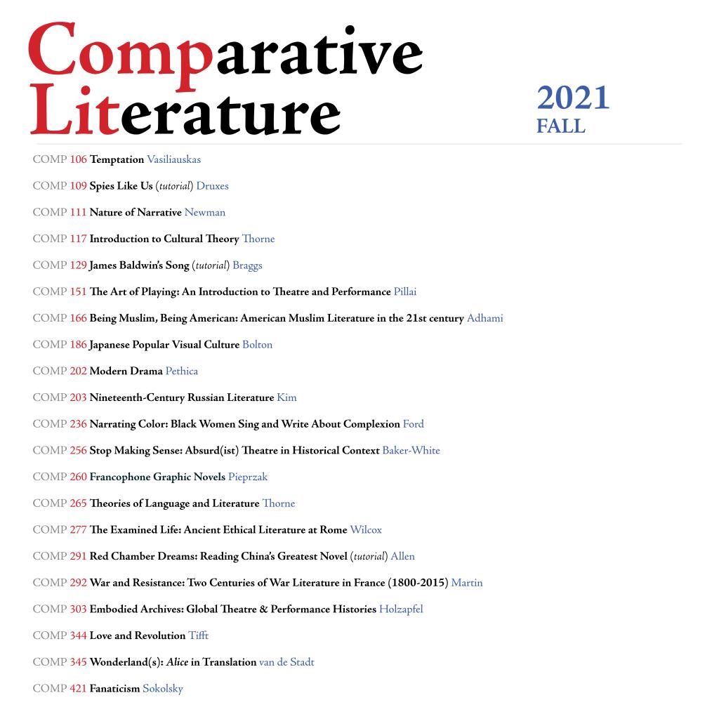COMP Fall 2021 courses